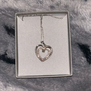 Zales diamond double hearted necklace